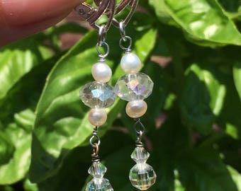 Freshwater pearls and faceted crystal earrings