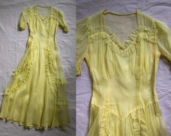 Vintage 1930's Yellow Layered Tulle Dress, Women's Small Medium, 30's