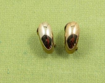 Vintage Small Gold Pierced Earrings with Clip Simple Modern Design 5/8 inch