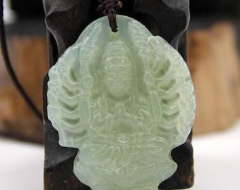 Talisman Xiuyan Stone Thousand-Hands Kwan-Yin Amulet Pendant Good Luck 40mm x 35mm  T1705