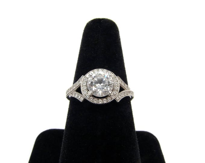 Sterling Silver CZ Halo Ring Size 7.5