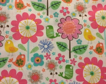 Birds and Flowers - Fabric - Cotton 15 inches