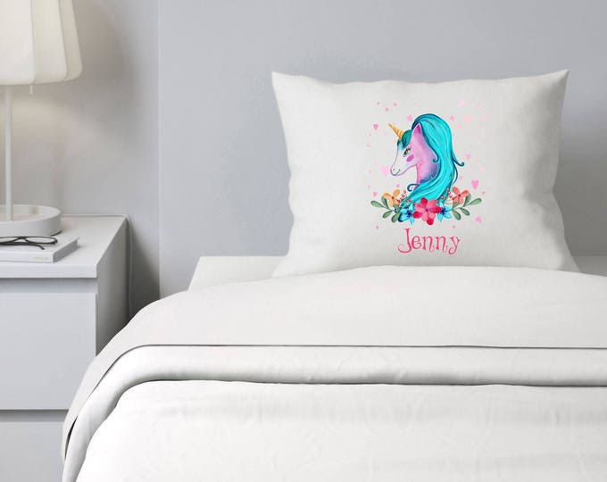 Custom Pillowcase, Unicorn Pillowcase, Girls Bedding, Personalized Pillowcase, Slumber Party Gifts, Magical