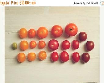 Art For Kitchen:Market Tomatoes Fine Art Food Photography foodie heirloom tomato rainbow red yellow orange Kitchen Art fruit wall deco