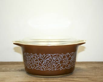Vintage Pyrex Woodlawn 473-B Handled Casserole Dish with Lid