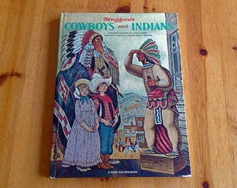 Vintage 1968 Giant Golden Book Tenggren's Cowboys and Indians retro midcentury childrens