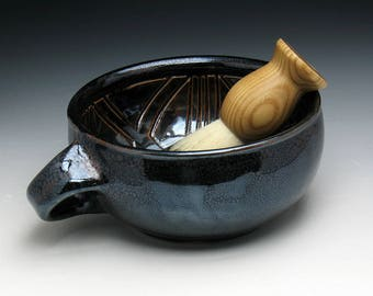 Metallic Bronze Warrior Shaving Bowl with Angled Handle for Right Handers