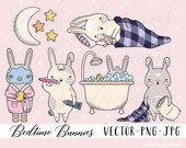 Pastel Bedtime Bunnies Clipart Set, Vector Clip Art, Kawaii Graphics Instant Download, Bunny, Cute Rabbit, Commercial Use, Kids, Baby, Sleep