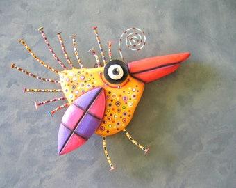 Golden Sparrow, MADE to ORDER, Original Found Object Wall Sculpture, Wood Carving, Wall Decor, Bird Sculpture, Nature Art, by Fig Jam Studio