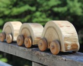 round log racer- ONE natural wood car made from cedar