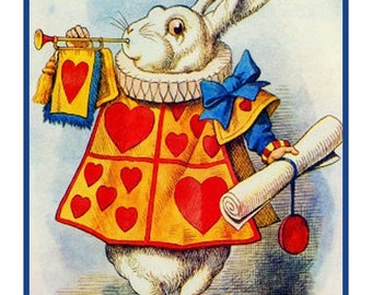 GREAT SALE The White Rabbit. .From  Alice in Wonderland Counted Cross Stitch Chart / Pattern....FREE Shipping