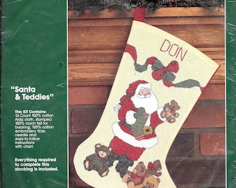 Bucilla Counted Cross Stitch Stocking Kit Santa Teddies Teddy Bears Personalize 32420