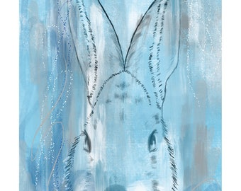 12x16 Inch Nursery Print - Bunny, Blue