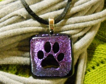 Purple/Black Fused Glass Pawprint Necklace