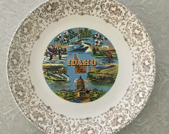 Vintage Idaho Souvenir Plate, The Gem State