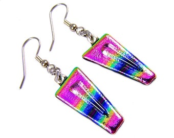 Dichroic Glass Dangle Earrings - Pink Yellow Gold Blue Striped Rainbow Patterned Fused Glass - Surgical Steel French Wire or Clip On - 1""