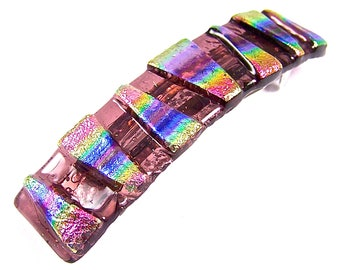 "Dichroic Barrette / Pink Gold Blue Rainbow Fused Glass - 3.5"" 9cm Patterned Special Effects Tie Dye Prism Striped Colorful Multicolor Dichro"