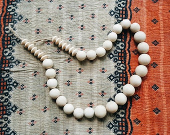 Large Chunky Natural Wooden Beaded Garland for Styling - Decorative Bohemian Wood Beads