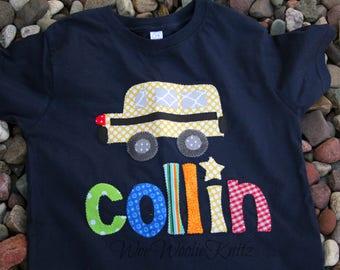 Personalized Back to School T Shirt- School Bus Tee- Boys Girls- Kindergarten- Custom- Long Short Sleeve