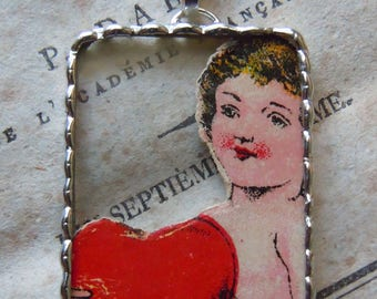 """Fiona & The Fig - Vintage """"Stupid Cupid"""" - Die Cut Scrap - Soldered Charm - Necklace - Pendant-Jewelry"""