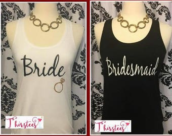 Gold Glitter Style Bride tank top discounts available Bachelorette party tank top bridal party tank black and gold white and gold