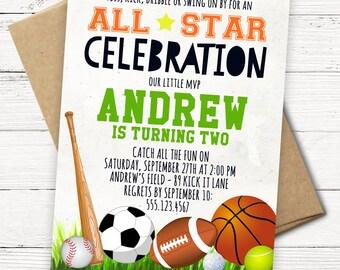Sports Birthday Invitation - All Star - Football, Basketball, Soccer, Baseball, Tennis, Golf - Printable or Printed Invitations