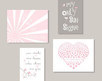Pink Gray Wall art You Are My Sunshine Prints, Baby Girl Nursery Decor, hearts, birds, Choose your size, Set of 4