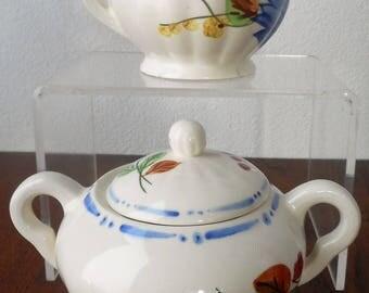 Blue Ridge Pottery Southern Potteries Hand Decorated Sugar Creamer Set Vintage