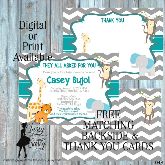 Jungle theme Baby Shower invitation, Jungle Invitation Shower, animal Invitation, zoo animal theme Luncheon zoo invite Shower 048