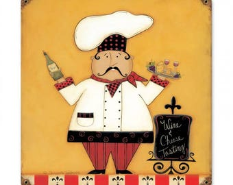 "Wine Cheese chef vintage style metal sign home decor kitchen decor wine tasting approx. 18"" x 18"""