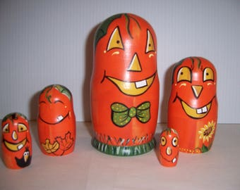 Pumpkins Collection Hand painted stacking nesting doll set