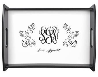 Rustic Decor Serving Tray  French Farmhouse Coffee Table Tray with Monogram - Choose Color for Text - Hostess Gift