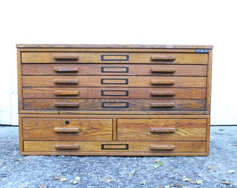 Flat file cabinet etsy vintage mayline wooden flat file card catalog file malvernweather Image collections