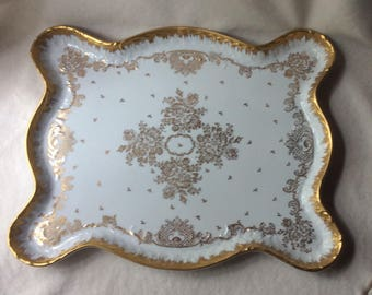 French Large Porcelain Tray - Limoges White Handpainted Tea Tray-Fine Porcelain