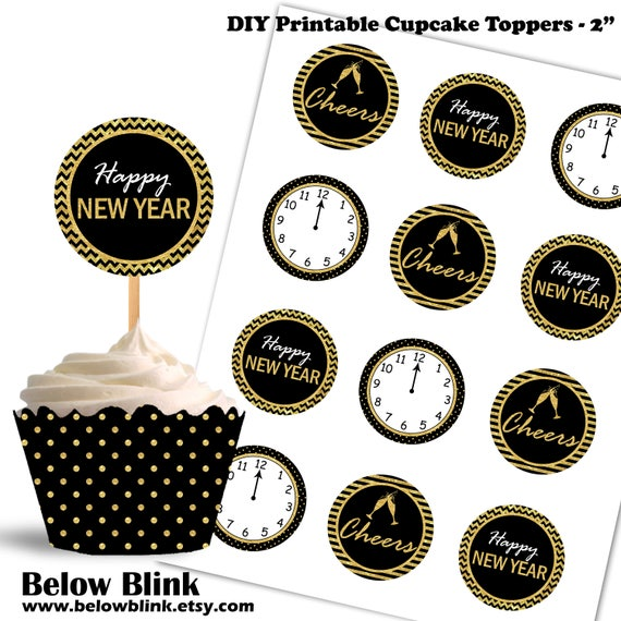 Printable Happy New Year Cupcake Toppers, Cheers Cupcake ...