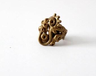 brutalist bronze ring, 1970s vintage jewelry