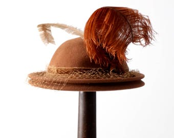 vintage 1940s feathered hat, brown plume hat