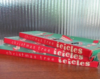 Vintage 50's Silver Christmas Tree Icicles  3 boxes - 50's Christmas Tree Ornaments - Christmas Tree Tinsel - 50's Christmas Icicles