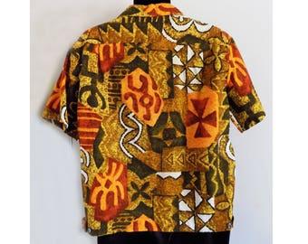 1950s-60s MALIHINI Hawaiian Bark Cloth Shirt-Jac with notched front and monogrammed pocket / Rare / Mint / Tiki