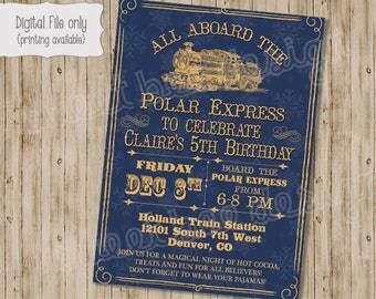 Polar Express Invitation, Polar Express Birthday Invitation, Polar Express Party Invitation, Christmas Party Invitation, Train Invitation