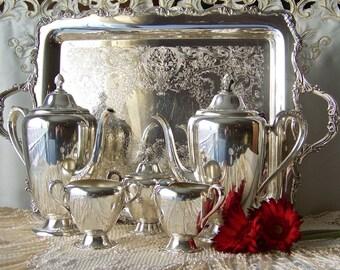 Vintage Tea Service Rogers & Bro Silver Plate Tea Service Serving Tray Teapot Creamer Sugar Waste Mid Century 1940s