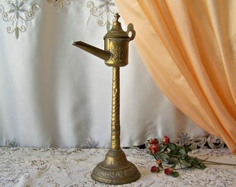 Antique Brass Spout Snotneus Oil Lamp 1800s RARE Early Oil Lamp Nose Drip Antique Lighting