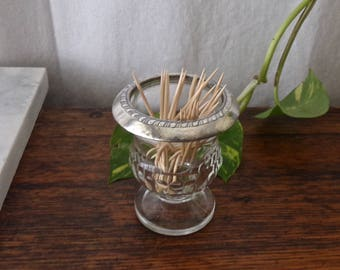 Toothpick Holder Pressed Glass Daisy Petal Toothpick Holder Dining Table Entertaining Hor dourves Dining Vintage 1960s Free Shipping US