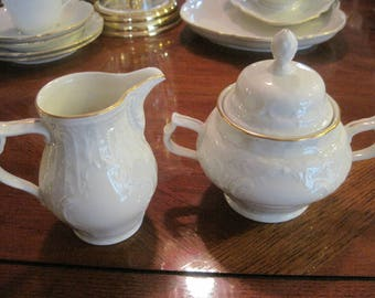 Rosenthal Group Classic Rose with Gold Trim Sugar and Creamer
