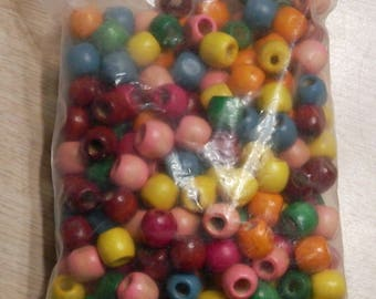 Bag of 150 Color Wooden Beads, Barrel Type Large Hole - CLEARANCE