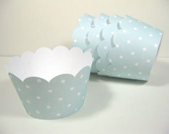 12 scalloped standard size cupcake wrappers - cupcake holder - girl baby shower - mint green cupcake wrappers - girl birthday - it's a girl