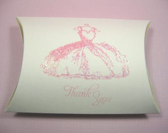 10 Pink Dress Favor Boxes - Gift Boxes - Pillow Boxes - Wedding Favors - Quinceanera favor boxes - Bridal Shower Favors - Candy Boxes