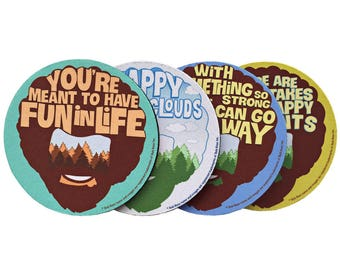 Bob Ross - Bob Ross Coasters - Happy Trees - Happy Clouds - Coaster Set - Quotes - Bob Ross Art - Landscape - Mug Coaster - Office Gift