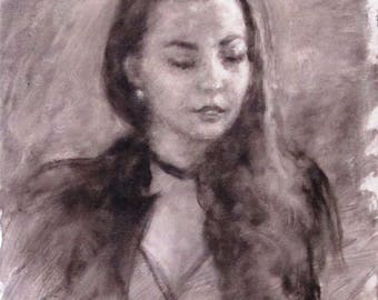 "Jenna, oil on canvas, 20"" x 16, by Surin. Free shipping."