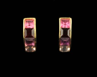 Vintage Beautiful Bijoux Givenchy Princess Cut Rhinestone Pink Clip Earrings 3/4